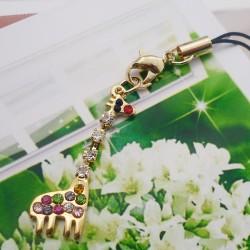 韩国时尚手机挂件批发 闪钻精致长颈鹿手机链 速卖通 2306