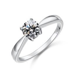 千族银 银饰品牌 鸿雁 全球经典四爪八心八箭切工锆石925结婚订婚纯银款式戒指2014118