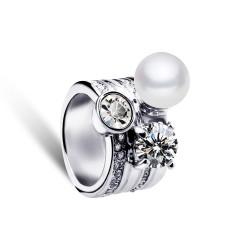 欧美复古热销夸张时尚高档锆石戒指 人造珍珠女王戒圈 5616-61