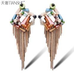 天奢TIANSHE  韩国纯手工菱形耳钉 波西米亚甜美水晶流苏耳饰 耳环度假必备2014435