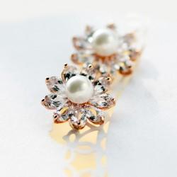 MISAKI米莎崎 韩版进口品质 新时尚饰品 日韩风 水晶太阳花珍珠耳钉 M035