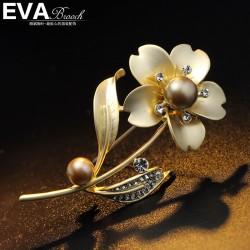 EVA颐娲高档胸针品牌 韩国饰品 花朵枝珍珠复古胸花 男女西服领针6454