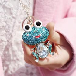 2021年流行饰品 可爱少女青蛙王子水晶毛衣链钥匙扣双用 厂家直销 1738