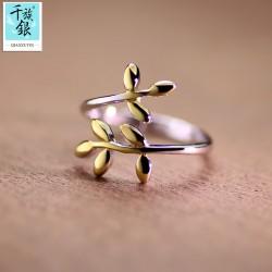 千族银 银饰品牌 珠宝首高档S925纯银橄榄叶子开口戒指 韩版创意新品配女 Q167