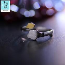 千族银 银饰品牌 珠宝首高档S925纯银迷你可爱小蘑菇云朵开口戒指 韩版日常创意新品配Q162