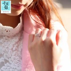 千族银 银饰品牌 珠宝首高档S925纯银迷你五角星开口戒指 韩版创意新品配女 Q159