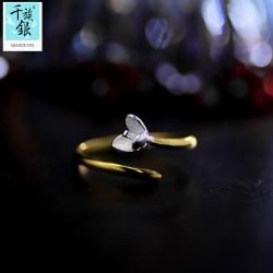 千族银 银饰品牌 珠宝首高档S925纯银简约小花朵开口戒指 韩版创意新生配女 Q171
