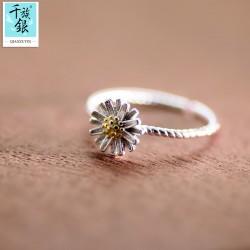 千族银 银饰品牌 珠宝首高档S925纯银小雏菊花朵开口戒指 韩版创意新品配女 Q165