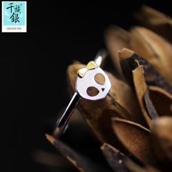 千族银 银饰品牌 珠宝首高档S925纯银可爱怪异蝴蝶结骷髅女孩开口戒指 韩版创意新品配女 Q166