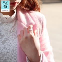 千族银 银饰品牌 珠宝首高档S925纯银小盆栽叶子开口戒指 韩版创意新品小清新配女 Q170