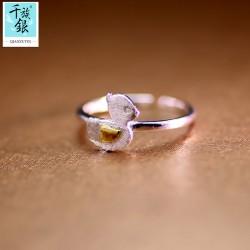 千族银 银饰品牌 珠宝首高档S925纯银可爱小鸭子开口戒指 韩版创意新品配女 Q168
