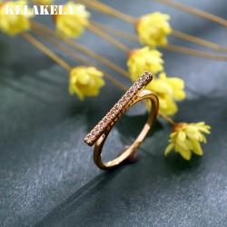 KELAKELA 日韩个性一字型简约铜微镶锆石戒指 日常时尚配饰 女 K303