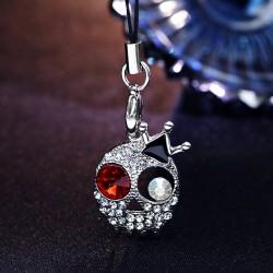 非主流个性饰品朋克风皇冠满钻骷髅头包扣 钥匙扣 包包挂件 手机链多用2646-1-28银色