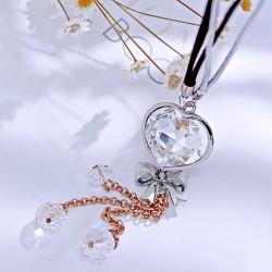 2017年流行饰品 日韩创意心形水晶蝴蝶结钥匙扣包扣手机扣挂件 个性百搭配饰多用1867
