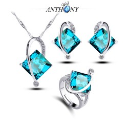 安东尼首饰 托帕石 镶钻四方蓝宝石三件套装 锆石 外贸现货 985