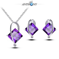 潮流紫水晶环保项链两件套装 女王 不锈钢链条 982