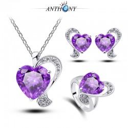 安东尼首饰 镀18K金心形水晶三件套装 经典紫色宝石结婚礼物 981