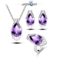 安东尼首饰 托帕石 结婚水滴高档 紫锆石三件套装 欧美爆款 983