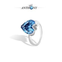 安东尼首饰 托帕石 结婚心形高档 蓝水晶三件套装 欧美爆款 993