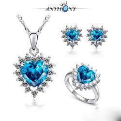 安东尼 奥地利水晶项链 耳钉 戒指  海洋之心锆石套装 997