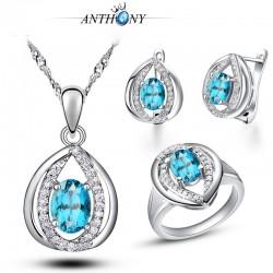 安东尼首饰 托帕石 水滴三件套装 蓝宝石微镶 高档品质 锁骨链996