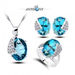 安东尼首饰 托帕石 蓝水晶三件套装 微镶半宝石 环保欧美热销 998