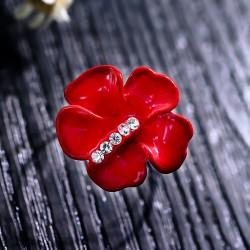 日韩精品大红色彩绘玫瑰花戒指开口戒 时尚个性配饰 女 1922