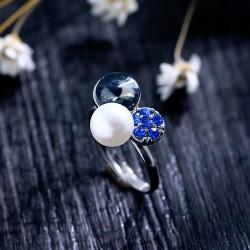 日韩精品创意母贝珍珠水晶戒指可调节 简约时尚百搭配饰 女 1923