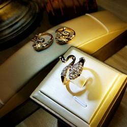 简约时尚创意蛇戒指 满钻流线型设计 个性女送礼 5214-49
