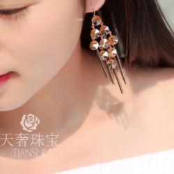 天奢TIANSHE 韩国时尚奢华波西米亚长款流苏手工耳环 闪耀水晶耳坠 2015323-91