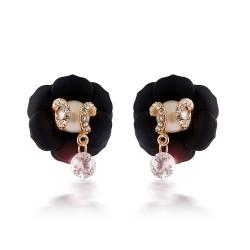 安东尼品牌外贸首饰 时尚个性清新玫瑰花珍珠水晶耳坠耳钉耳扣 女 A032-93