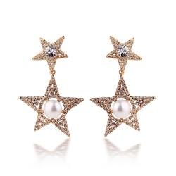 安东尼品牌外贸首饰 个性时尚满钻水晶五角星珍珠耳坠耳钉耳环 女 A034-98