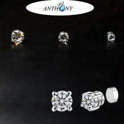安东尼品牌外贸首饰 四爪圆形锆石磁铁耳钉 吸铁石无耳洞耳饰 A117