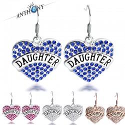 安东尼品牌外贸首饰 刻字母Daughter满钻桃心耳坠耳环 女 A123-60