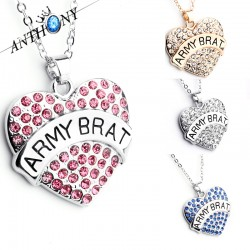 安东尼品牌外贸首饰 个性时尚刻字母ARMY BRAT满钻桃心吊坠项链 女 A121-49