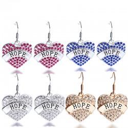 安东尼品牌外贸首饰 刻字母HOPE希望满钻桃心耳坠耳环项链套装 女 A126-55