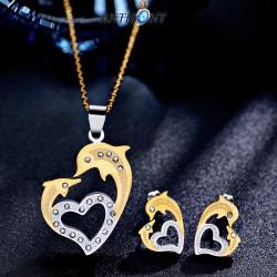 安东尼品牌外贸首饰 韩版个性时尚动物海豚镂空桃心钛钢耳钉项链不锈钢套装 女 A171