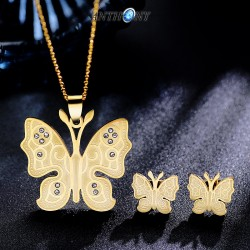 安东尼品牌外贸首饰 韩国时尚简约印花蝴蝶钛钢项链耳钉不锈钢套装 A174
