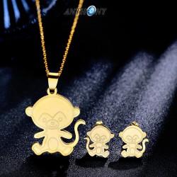 安东尼品牌外贸首饰 韩版时尚光面可爱小猴子生肖钛钢耳钉项链不锈钢套装 女 A169