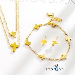 安东尼品牌外贸首饰 简约个性欧美教廷十字架钛钢耳钉项链手链组合不锈钢套装 女 A215