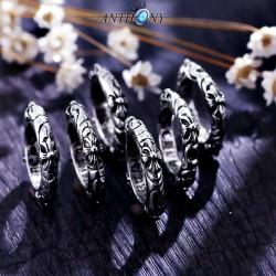 安东尼品牌外贸首饰 韩国时尚个性复古花纹潮男钛钢戒指 A177-81