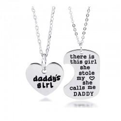 安东尼品牌外贸首饰 欧美时尚个性刻字母父女daddy's girl桃心套装项链 A271-33