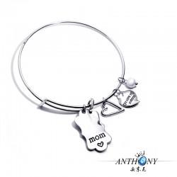 安东尼品牌外贸首饰 刻字母MOM时尚桃心手镯 母亲节礼物 A304-30