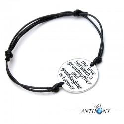 安东尼品牌外贸首饰 欧美风时尚简约刻字母圆牌皮绳手链 可调节 A297-20