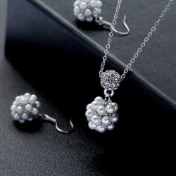 韩国时尚简约新款 可爱满钻珍珠小圆球耳坠耳环项链 套装女 4626