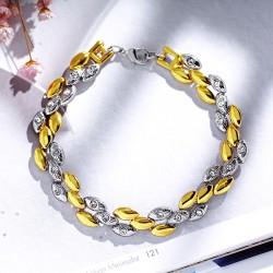 欧美时尚 高档外贸饰品定做 金银双色光面麦穗耳环手链项链 套装 3048
