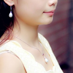 西凉妃子品牌首饰 高档贝珠水滴珍珠吊坠锁骨链项链 耳环 套装 女 X117-90