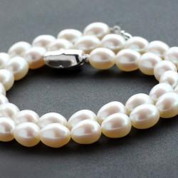 西凉妃子品牌首饰  米形8.0mm-9.0mm天然淡水珍珠项链女银扣白色 X107-980