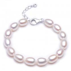西凉妃子品牌首饰 8-9mm米形白色混彩色S925纯银女-天然珍珠手链 X118-540