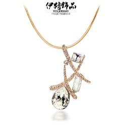 厂家直销 夏季新款水晶水滴吊坠项链锁骨链批发 交错的线条 3370-46